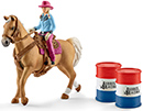 Schleich Barrel racing mit Cowgirl Farm World 41417